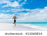 luxury travel woman in black... | Shutterstock . vector #411060814