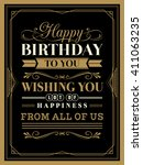 vintage happy birthday card... | Shutterstock .eps vector #411063235