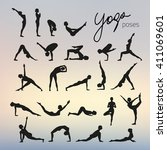 set of yoga poses silhouettes... | Shutterstock .eps vector #411069601