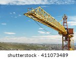 construction crane tower... | Shutterstock . vector #411073489