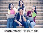 group of happy teen high school ... | Shutterstock . vector #411074581