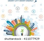 ecological city concept.smart... | Shutterstock .eps vector #411077929