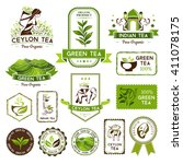 green  indian and ceylon tea... | Shutterstock .eps vector #411078175