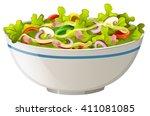 bowl of green salad illustration | Shutterstock .eps vector #411081085