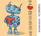 robot with heart   vector... | Shutterstock .eps vector #411082831