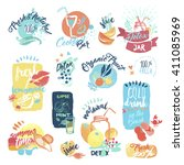 set of hand drawn watercolor... | Shutterstock .eps vector #411085969