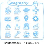 hand drawn geography icon set | Shutterstock .eps vector #411088471