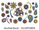floral doodle elements. hand... | Shutterstock .eps vector #411091804