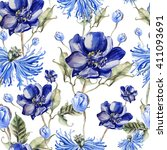 pattern with watercolor... | Shutterstock . vector #411093691