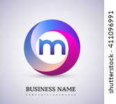 m letter colorful logo in the... | Shutterstock .eps vector #411096991