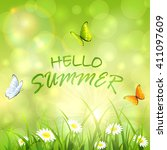 sunny summer background with... | Shutterstock . vector #411097609