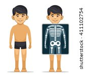 two cartoon style boy with x... | Shutterstock .eps vector #411102754