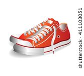 photo realistic sports shoes... | Shutterstock .eps vector #411103051