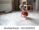 little boy  child toddler plays ... | Shutterstock . vector #411103351
