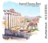 panorama of roman imperial...   Shutterstock .eps vector #411105301