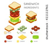 sandwich ingredients in 3d... | Shutterstock .eps vector #411111961