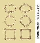 hand drawn vintage frame set... | Shutterstock .eps vector #411112144