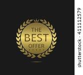 golden the best offer label.... | Shutterstock .eps vector #411112579