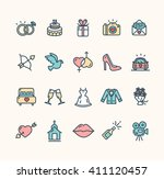 wedding colorful icon set on... | Shutterstock .eps vector #411120457