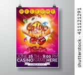vector party flyer design on a... | Shutterstock .eps vector #411121291