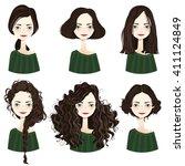 set of six cute brunette girl... | Shutterstock .eps vector #411124849