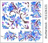 set with seamless pattern ... | Shutterstock . vector #411126121
