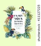 vector illustration tropical... | Shutterstock .eps vector #411127225