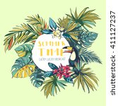 vector illustration tropical... | Shutterstock .eps vector #411127237