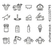 milk or dairy products icons... | Shutterstock .eps vector #411133795