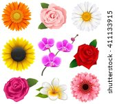vector flower icons | Shutterstock .eps vector #411133915