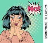 shocked woman. bubble... | Shutterstock .eps vector #411134095