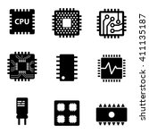 vector black cpu microprocessor ... | Shutterstock .eps vector #411135187