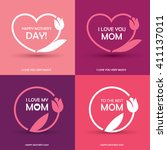 set of four mothers day... | Shutterstock .eps vector #411137011
