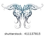 gothic style tattoo as angel... | Shutterstock .eps vector #411137815