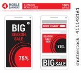 red mobile standard size... | Shutterstock .eps vector #411143161