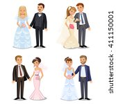 set of happy wedding couples.... | Shutterstock .eps vector #411150001