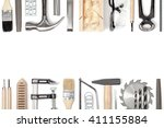 carpentry and woodwork tools on ... | Shutterstock . vector #411155884