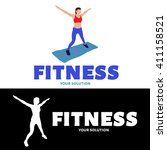 vector logo fitness. the girl... | Shutterstock .eps vector #411158521