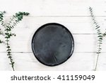 top view empty black plate on... | Shutterstock . vector #411159049