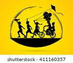 children running  friendship... | Shutterstock .eps vector #411160357