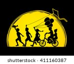 children running  friendship on ... | Shutterstock .eps vector #411160387