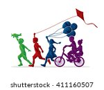 children running  friendship... | Shutterstock .eps vector #411160507