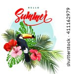 summer holidays background with ... | Shutterstock .eps vector #411162979