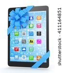 black tablet with blue bow and...   Shutterstock . vector #411164851