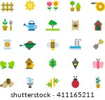 garden flat colored icons | Shutterstock .eps vector #411165211
