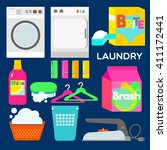 LAUNDRY Laundry appliances and equipment illustrated in graphic style.