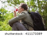 woman drinking water and... | Shutterstock . vector #411173389