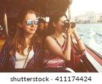 girls friendship hangout... | Shutterstock . vector #411174424