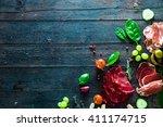 italian ham  prosciutto and... | Shutterstock . vector #411174715