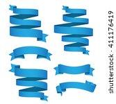 blue ribbon vector set for... | Shutterstock .eps vector #411176419